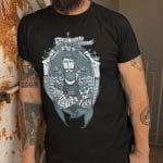 Tatts n Mermaids Black Tee with our awesome colour print emblem